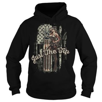 Just the tip american flag and girl shirt Hoodie