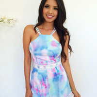 Cotton Candy Skies Playsuit- Multi