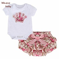 2Pcs/Lot Newborn Infant Baby Girls Clothing Sets Cotton Flower Print Summer Romper+Shorts Baby Sets Girl Clothes