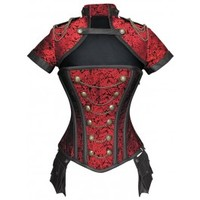 ND-188 - Red Military Inspired Corset with Pouch and Matching Jacket