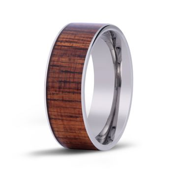 The Wide Koa Wood Inlay Titanium Ring