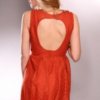 Rust Open Back Shimmer Sleeveless Scoop Neck Sexy Party Dress