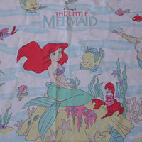 FREE SHIPPING - Little Mermaid Sheets/Twin Flat Sheet/Flat Sheet/Vintage Little Mermaid/The Little Mermaid/90's