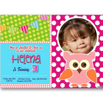 Cute Baby Owl Colorful Polka Dot Kids Birthday Invitation Party Design