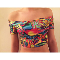 Acid Trip Off The Shoulder Crop Top