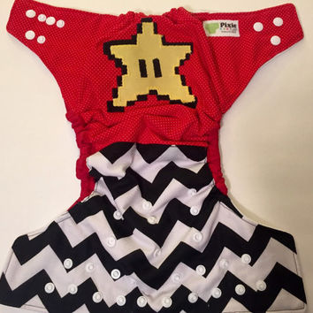 Mario Bros. Super Star, One Size Cloth Diaper
