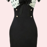 Pinup Dresses - Vintage Style Wiggle Dress with Polka Dot Bodice, Tie Front & High Waist Pencil Skirt