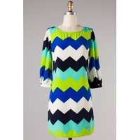 Navy and Lime Chevron Dress