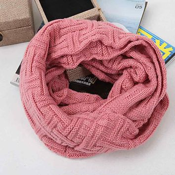 Women Fashion ScarfWomen Winter Warm Knit Neck Circle Wool Blend Cowl Snood Wool Scarf
