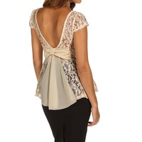 Sale-natural Lovely Lace Back Peplum Top