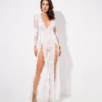 Izidora- White Flower Sequin Mesh Lining Deep V Neck Jumpsuit
