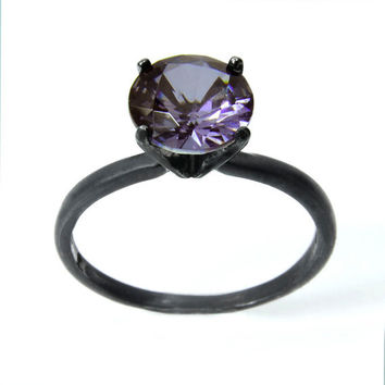 Amethyst Ring in Sterling Silver, Tiffany 4 Prong Set Amethyst Ring in Solid Silver