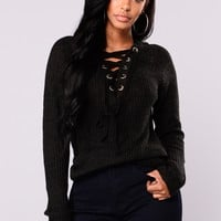 Emma Rose Lace Up Sweater - Black