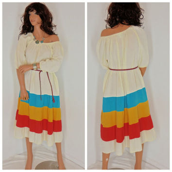 70's festival dress, size S / M, boho, hippie by Appel, union label, Made in USA