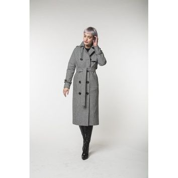 Gray Sleeves Animal Print Trench Coat