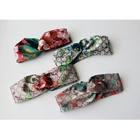 Fashion Online Gucci Blooms Print Silk Headband