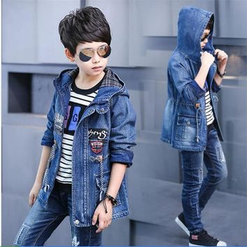 Trendy Children clothes 3-14 Outerwear & Coats Jackets Boy 2018 Spring and Autumn Denim jacket big boy new casual long trench coat AT_94_13