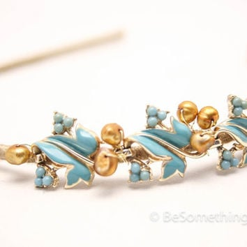 Vintage turquoise enameled leaves and gold bead headband, gifts for her