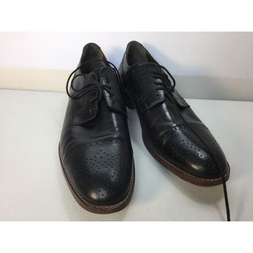 Johnston & Murphy Men's Black Meritt Cap Toe Oxford, Size 9.5M