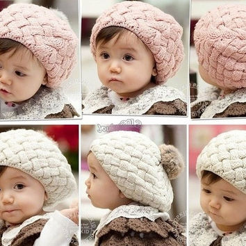 Cute Winter Knit Crochet Beanie Hat For Baby Kid Girls Toddler = 1958295620