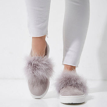 Grey fluffy slip on plimsolls - Plimsolls & Sneakers - Shoes & Boots - women