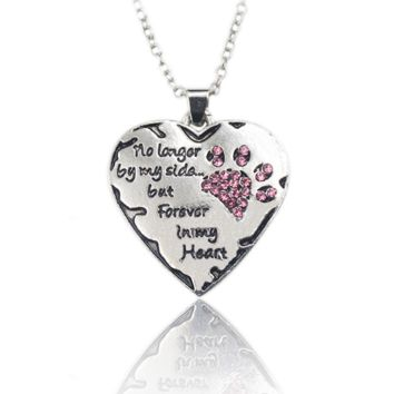 """No longer be my side but forever in my heart"""" Crystal Cats Dogs Paws Claw Print & Heart Necklace"""
