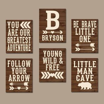 WOODLAND QUOTE Wall Art, Woodland Nursery Decor, Woodland Pictures, Rustic Nursery Decor, CANVAS or Print Little Man Cave, Set of 6 Artwork
