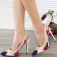 Cutout Pointed Toe Stiletto Heel Pumps