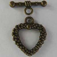 5 Antiqued Bronze Heart Toggle Clasps