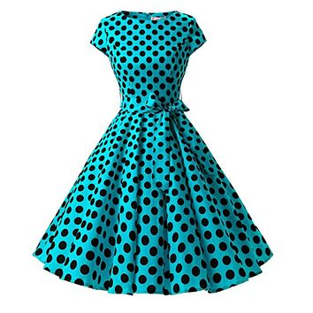 1950s Inspired Retro Rockabilly Cap-Sleeve Dress, Turquoise with Large Black Polka Dots, Sizes XS - 3XL