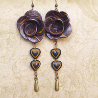 Autumn dark brown Flower heart earrings Polymer jewelry