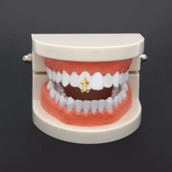 ac PEAPO2Q Yinian Single Cross Teeth Grillz Gold Color Canine One Tooth Grills Upper Hip Hop Top Fangs Hollow Grill CC092