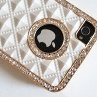 SODIAL- White Gold Luxury Luxurious Crystal Diamond Bling Rhinestone Protector Hard Skin Back Case Phone Cover for iPhone 4 4G 4S