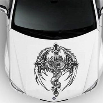 Hood Auto Car Vinyl Decal Stickers Animals Snake Cross Heraldic S7062