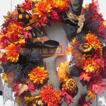 Halloween Witch Hat and Boots, Halloween Pumpkins, Halloween Wreaths, Halloween Door Wreath, Halloween Front Door Wreath, Halloween Decor,