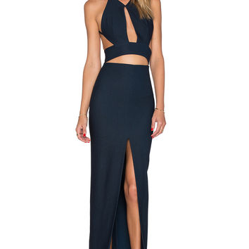 SOLACE London Ferrara Maxi Dress in Black & Blue