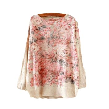 Rose Printed Knitted Long Sleeve