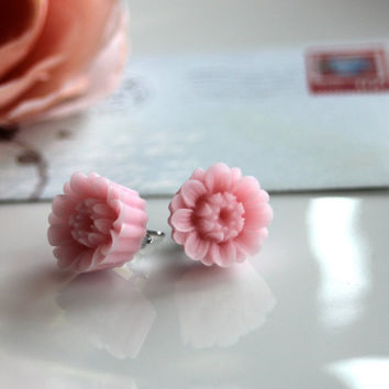 The Sweetest Pink Pom Pom Poppy Flower Ear Post by Marolsha