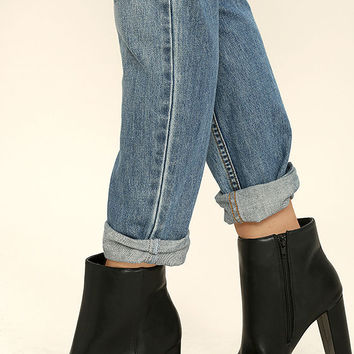Imogen Black Leather Ankle Booties