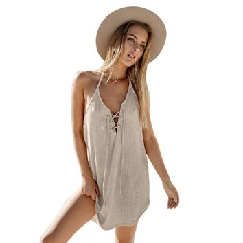 Beach Style Womens Dresses V Neck Lacing Sexy Summer 2017 Solid Sleeveless Casual Loose Mini Dress Backless vestidos mujer #53
