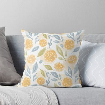 'Watercolor Florals' Throw Pillow by stefiijuliette