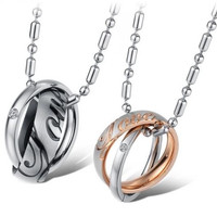 His and Hers Rose Gold Plated Love Letters and Rhinestone CZ Engraved Rings Cross Rings Titanium Steel Pendant Necklaces (Two Necklaces) 730 (Color: Multicolor) = 1929795204