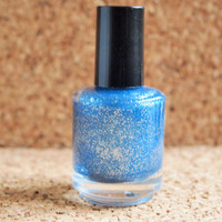 "Handmade NonToxic Polish - ""The Wave"" Indie 3 free nail lacquer blue swag glittery glamour"