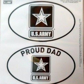 Army PROUD DAD 2-Pack EURO STYLE Auto Decals Sticker United States US Military