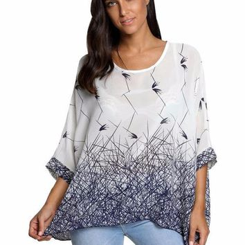 BHflutter Women Blouses Summer Tops Tees New Style 2018 Batwing Casual Chiffon Blouse Shirt Plus Sizes Women Clothing