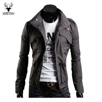 Cool Designed Mens Jacket Coat Tunic Jacket Spring&Autumn Slim Fit Collar Casual Style Windproof Outwear Clothes Size M--3XL