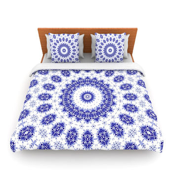 "Iris Lehnhardt ""M2"" Blue White Lightweight Duvet Cover"