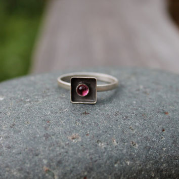 Pink Tourmaline Sterling Silver Bezel Set Shadow Box Ring. Small frame. Pink Stone. Bright. Black oxidized background. tourmaline