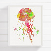 Watercolor Jellyfish, Jellyfish Art Print, Jellyfish Painting, Jellyfish Poster, Bathroom Decor, Coastal Wall Art, Beach Art, Kids Room Art