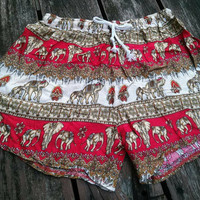 Red Gold Elephant Printed Shorts Unique item Beach Summer Hippie Clothing Aztec Ethnic Ikat Cute Cloth For Women Boxers Boho Tribal Pattern